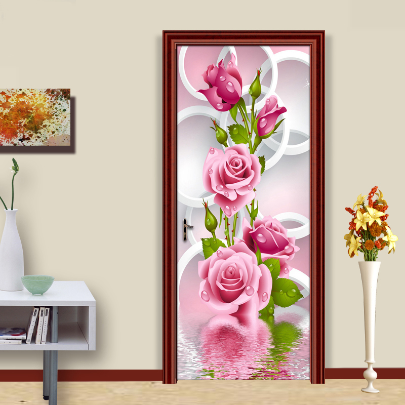 Modern Simple Romantic 3D Stereoscopic Circle Rose Flower Art Wall Mural Living Room Bedroom Door Sticker Wallpaper Home Decor