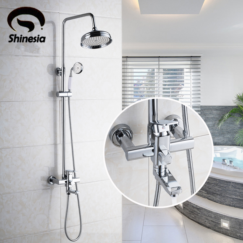High Quality Solid Brass Chrome Polished Bathroom Shower Faucet Single Handle Tub Mixer Tap with Hand Shower