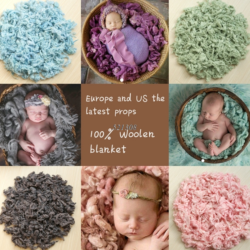 Wool Filler Cushion Blanket Newborn Photography Background Props Studio Photos Aided Modeling Filler Basket Stuffer APR12_30