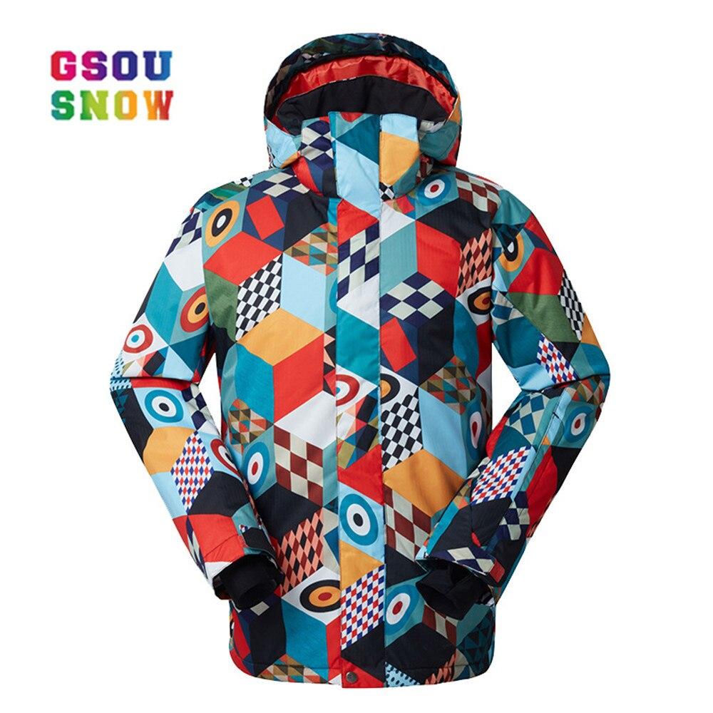 GSOU NEIGE Nouveau-30 Degrés veste de ski Hommes Hiver Snowboard Veste Imperméable Coupe-Vent Respirant En Plein Air Garder Au Chaud De Mode