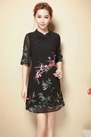 Women Dresses New 2017 Summer Dress vestidos Sexy Dress Expensive Plum Embroidery Fashion Women Dress Black High Quality