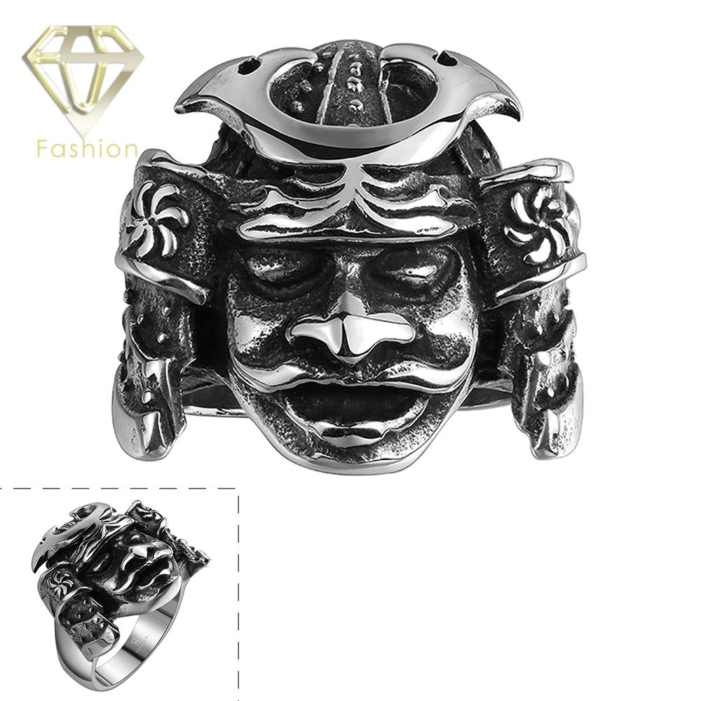 2017 Rock Design Tribe 316L Stainless Steel Men Apache Indian Chief Head Ring Punk Figure Jewelry for Men
