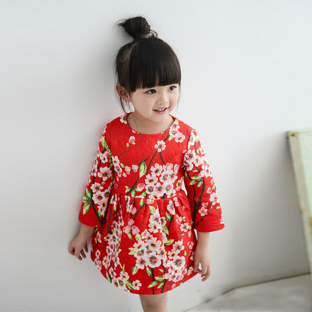 c143ca47fc6 Baby Girl Dress Kids Clothes Chinese Flowe Rplum Blossom Fashion Red  Jacquard Long Sleeve Children Cute Infantis Spring Autumn