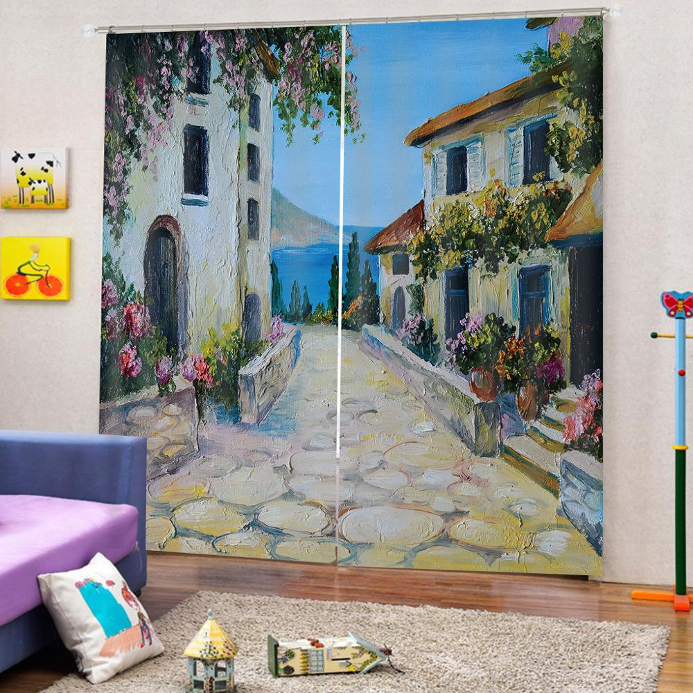 customize height modern curtains for living room bedroom Oil painting building photo print curtainscustomize height modern curtains for living room bedroom Oil painting building photo print curtains