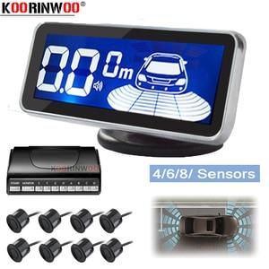 Koorinwoo LED Monitor Electromagnetic Parking Sensor 8 Car Parktronic Front Parking Sensor Motion Parking Backlight Car Detector