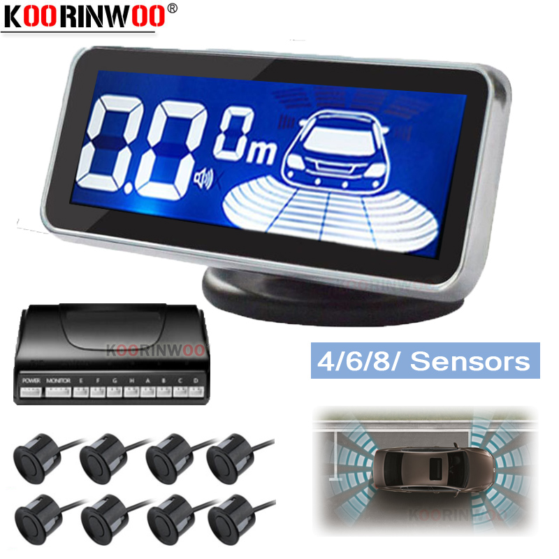 Koorinwoo LED Monitor Elektromagnetische Parkplatz Sensor 8 Auto Parktronic Vorder Parkplatz Sensor Motion Parkplatz Hintergrundbeleuchtung Auto Detektor