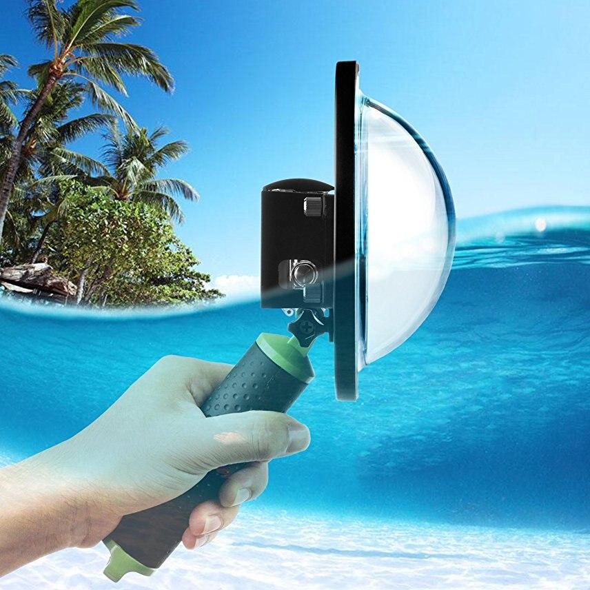 Port dôme de plongée 6 pouces pour GoPro Hero 4 3 + noir argent Go Pro caméra avec boîtier étanche dôme pour GoPro 3 + 4 accessoire
