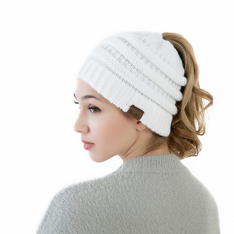 724f5118d05 High Quality Cotton Two Style Women s Girl Stretch Knit Hat Messy Bun  Ponytail Beanies Holey Warm Winter Hats-in Skullies   Beanies from Women s  Clothing ...