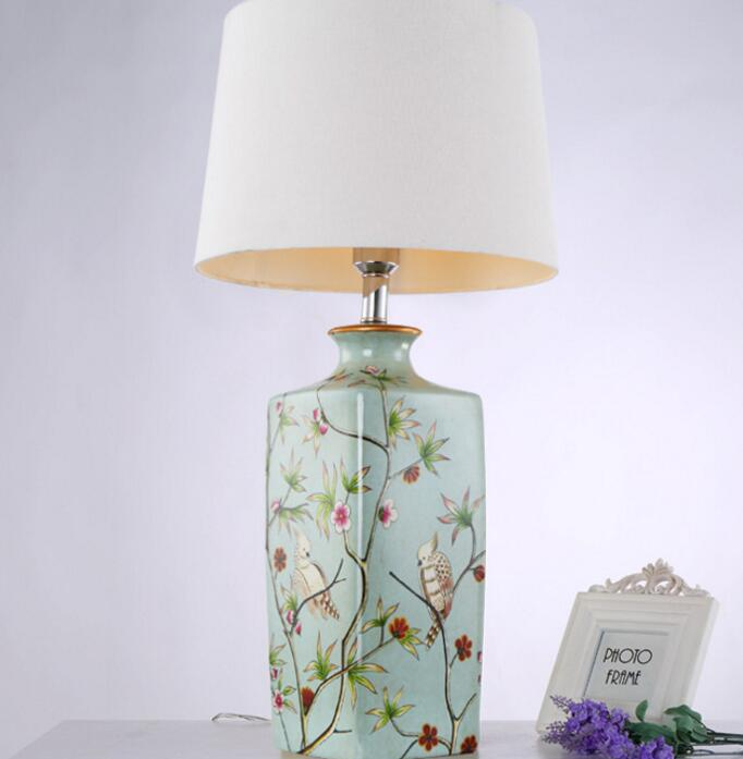 Traditional vintage chinese ceramic table lamp e27 elegant - Traditional table lamps for bedroom ...