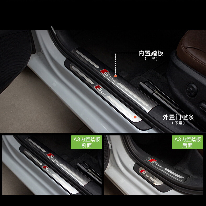 4 PCS DIY Car styling NEW stainless steel built-in external sill strip cover case Stickers for AUDI 2009-15 A4L A5 accessories
