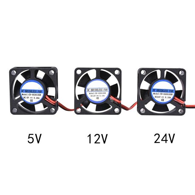 3D Printer Parts 5015 Blower Fan 12V 24V 0.1A Turbo cooling fan 5cm 50x50x15mm 5015/4010/3010 5V Black Plastic Fans For Extruder 4