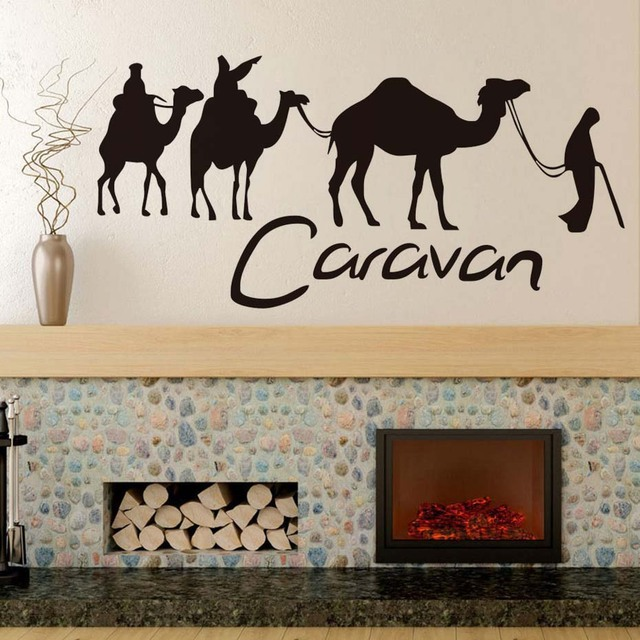 US $7 45 9% OFF Caravan And Camel Wall Stickers For Living Room Decoration  Removable Vinyl Wallpaper Posters Wall Art Stickers Decals Home Decor-in