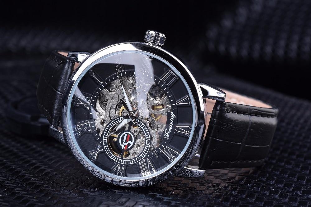 HTB1qqB3BZuYBuNkSmRyq6AA3pXac Forsining Men Watches Top Brand Luxury Mechanical Skeleton Watch Black Golden 3D Literal Design Roman Number Black Dial Clock