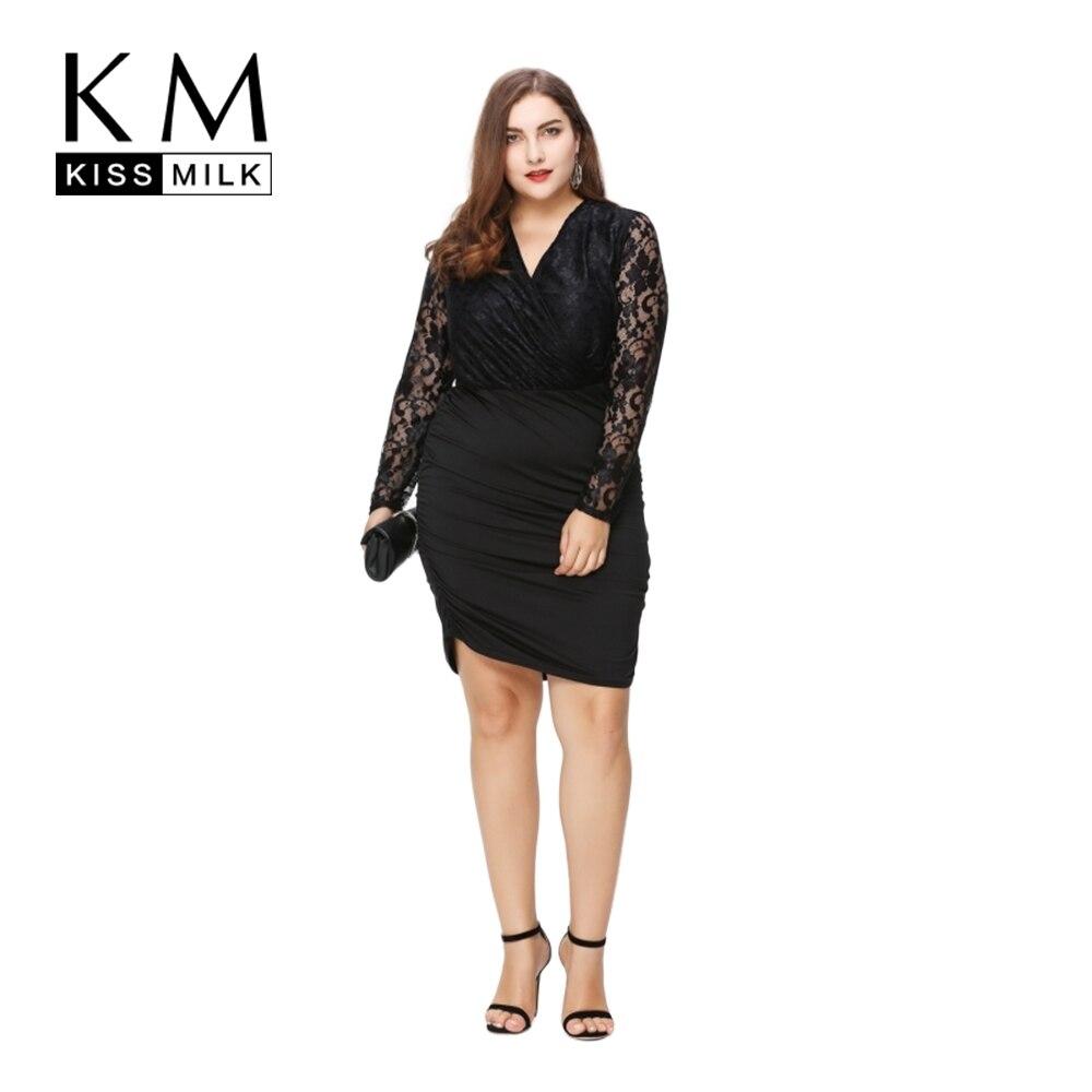 2605333aebec5 Kissmilk كبيرة حجم جديد أزياء النساء ملابس أنيقة مثير الدانتيل خليط اللباس  Bodycon ضئيلة زائد حجم اللباس 3XL 4XL 5XL 6XL
