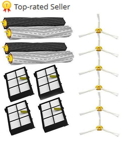 2 set Senza Grovigli Detriti Estrattore + 4 filtro Hepa + 6 spazzola laterale misura per iRobot Roomba Serie 800 900 870 880 980