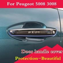 Manija de puerta de acero inoxidable, cubierta de protección, pegatina, modificación externa, para Peugeot 5008, 3008, 2017, 2018, 2019