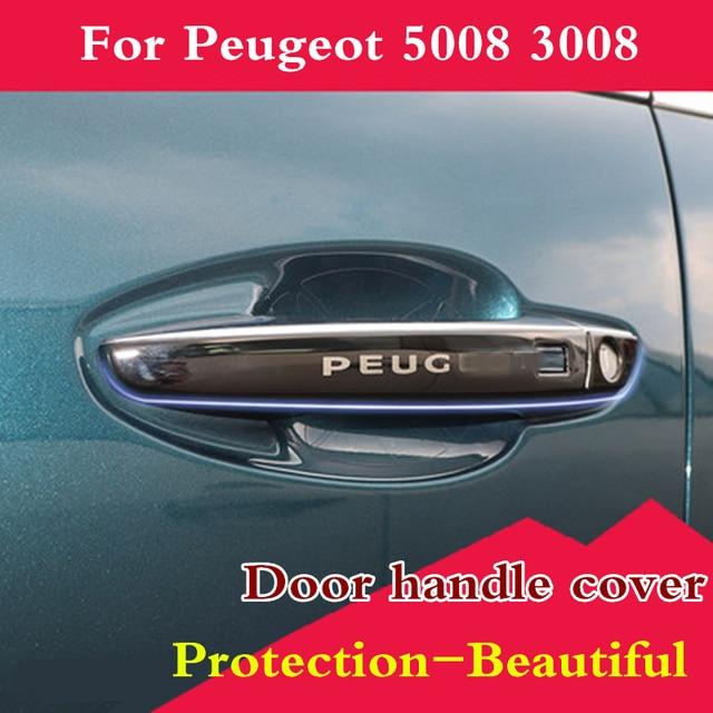 Paslanmaz Çelik Dış kapı kulp kılıfı etiket koruma kapağı harici modifikasyonu Peugeot 5008 3008 2017 2018 2019