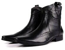 Модные черные/коричневые загар с острым носком мотоциклетные ботинки мужские ковбойские сапоги мужские натуральная кожа сапоги мужские ботильоны