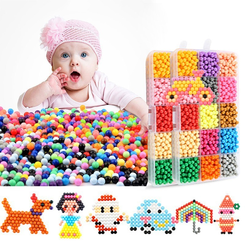 42color 13200Pcs DIY Handmade Beads Toy 3D Puzzles Beados Magic Sticky Water Beads Educational Toys Bead For Kids Children Gift