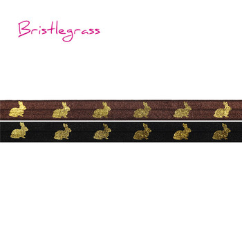 "BRISTLEGRASS 100 Yard by Roll 5/8"" 15mm Gold Rabbit Foil Print Fold Over Elastics FOE Spandex Satin Bands Headband Dress Sewing"