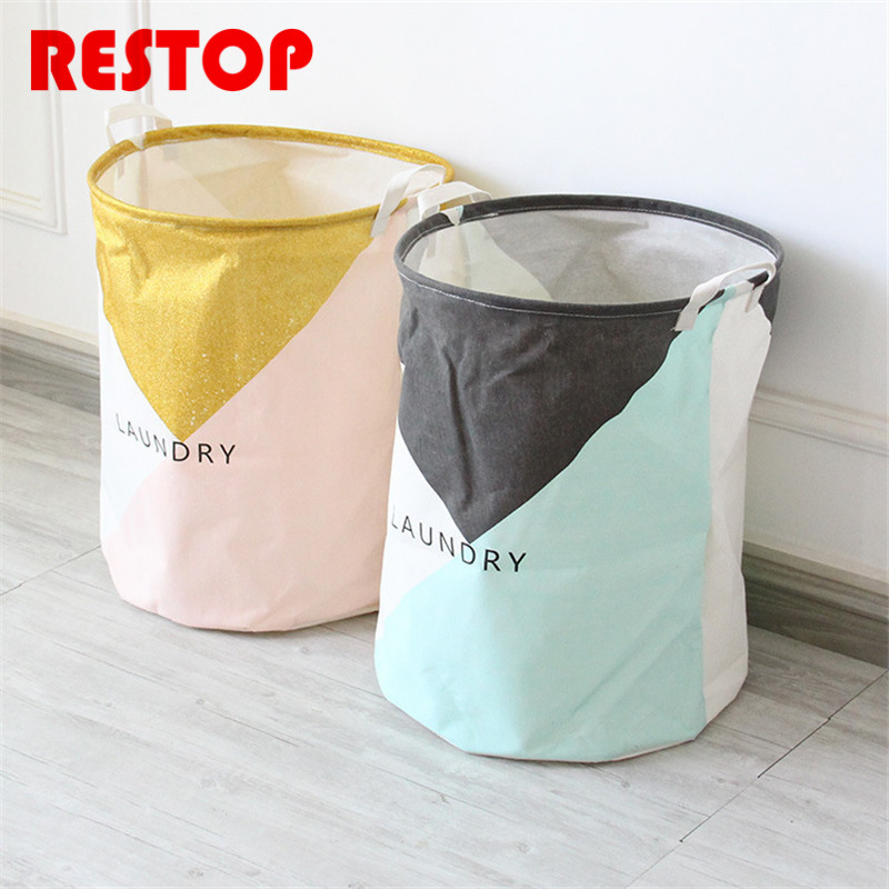 RESTOP New Style Laundry Basket Canvas Washing Laundry Bag Hamper Storage Dirty Clothing Bags Toy Storage Bag RES1029