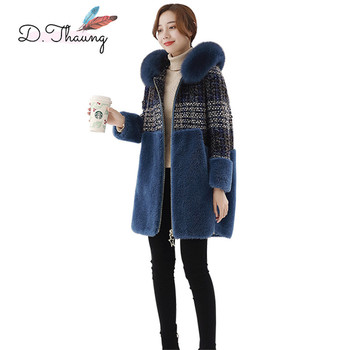Jacket Winter Female 2018 New Stitching Medium Long Women Cotton Coat High-End Hooded Fur Collar Ladies Parkas Cw645