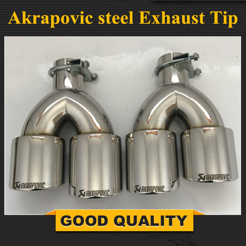цена на Free Shipping: 1PCS Dual AKRAPOVIC Stainless Steel exhaust tip exhaust pipe tail quad AK exhaust muffler tip