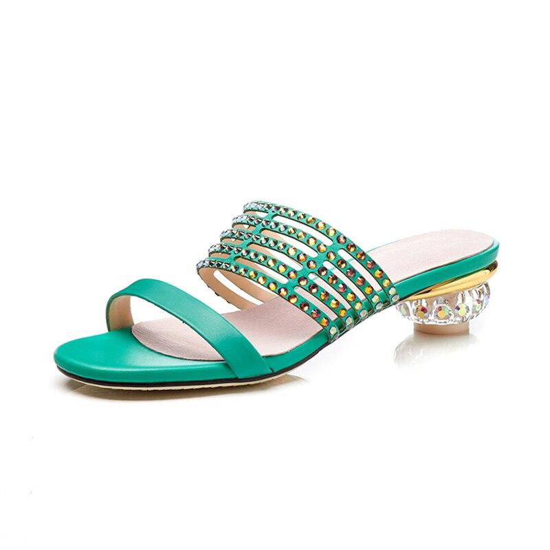 Confort Cuir Strass Pompes 42 Plus vert 33 Noir Talons Chaussures La Summer En Sandales Taille Kcenid Femmes Mode Cristal Party Véritable Pantoufles v8BU7qwxB