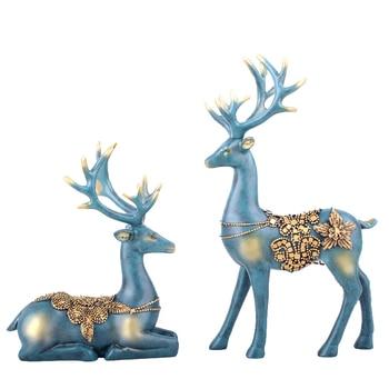 2pcs/set Various Styles European Deer Desktop Figurine Ornament Home Decoration Desk Decor Home Decoration Wedding Decoration