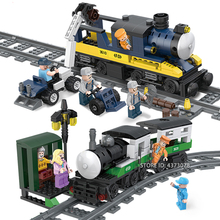 Fit City Creator Freight Train Track Figures Railway Engine Bricks Educational Building Blocks Toys For Children Gifts lepin 02039 898pcs real city series red freight train set legoingly 3677 model building blocks bricks educational children gifts