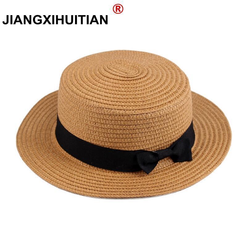 wholesale Summer women straw hat Parent-child sun hat Kids Large Brim Beach caps Boater Beach Ribbon Round Flat Top fedora hat