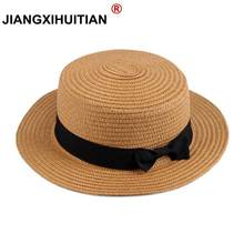 wholesale Summer women straw hat Parent-child sun hat Kids Large Brim Beach caps Boater Beach Ribbon Round Flat Top fedora hat(China)