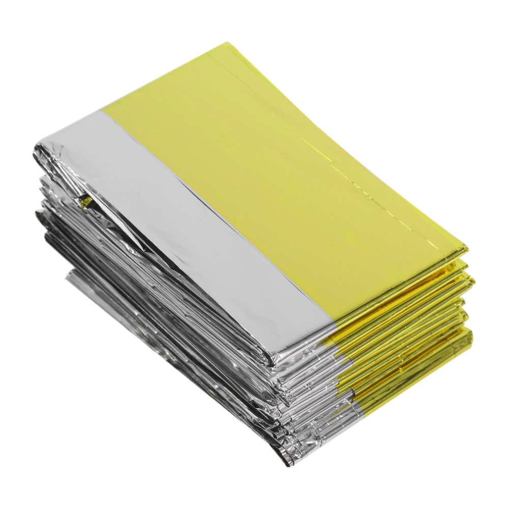 цена на 160*210cm Emergency Blanket Lifesaving Thermal Insulation Sunscreen Blanket Gold Silver Double Color New Style