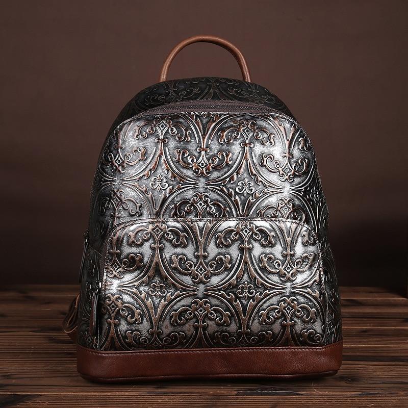Mode Frauen Echtem Rindsleder Rucksack Luxus Geprägte Leder Knapsack Buch Tasche Daypack Hohe Qualität Weibliche Rucksack-in Rucksäcke aus Gepäck & Taschen bei  Gruppe 1