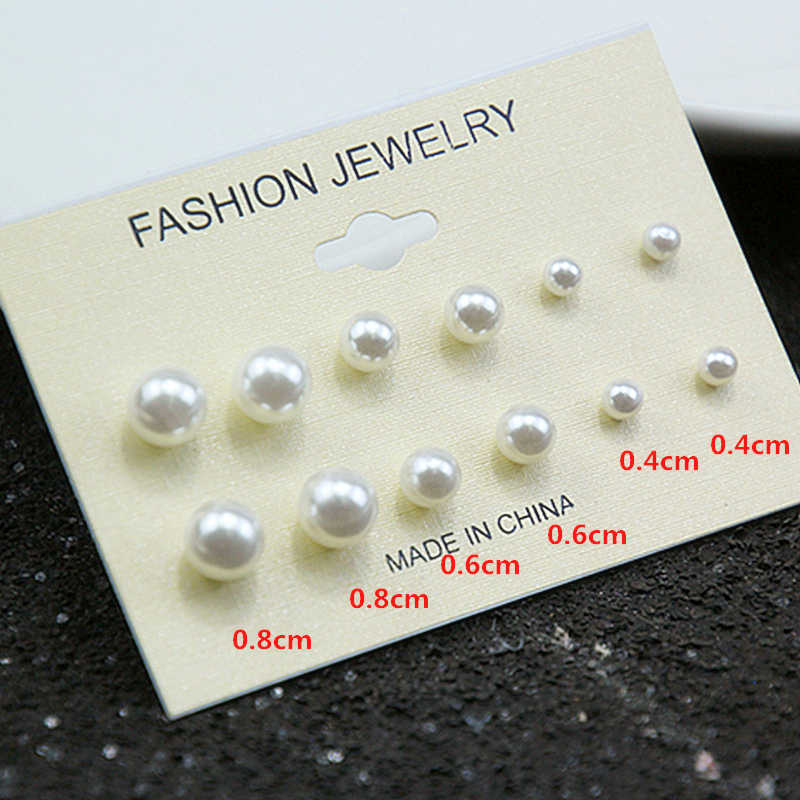 E0126 Fashion Mixing Crystal Simluated Pearl Stud Earrings 6 Pair/Set Shiny Lots of Earrings Jewelry For Women Girls Wholesale