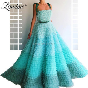 Image 4 - Amazing Summer Princess Party Dress 2019 Couture Tiered Tulle Multicolor Prom Dresses Beaded Abendkleider Arabic Evening Gowns