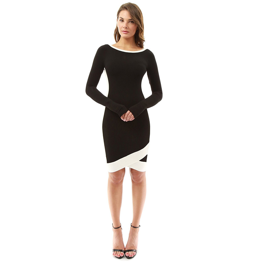 af137bbdb3 FEITONG Ladies Color Block Casual Mini Dresses New Autumn Style Black White  Patchwork Crew Neck Short Sleeve Shift Dress 0000