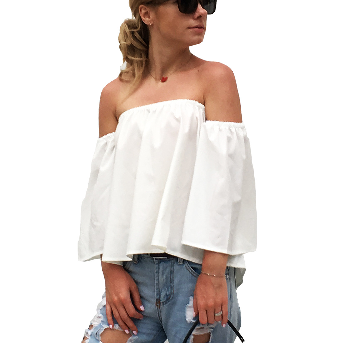 Women's Blusas Summer Sexy Wrapped Chest Slash Neck Strapless Loose Three Quarter Sleeve Shirts Casual Chiffon Blouse Shirt Tops