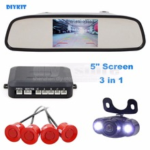 DIYKIT four Sensors 5 Inch Rear View Automobile Mirror Monitor + Video Parking Radar + LED Rear View Automobile Digital camera Parking Help System