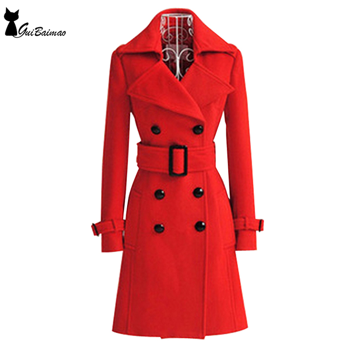 Rouge D'hiver de Manteau Femmes Double Breasted Manches Longues Classique Manteau Ceinturé
