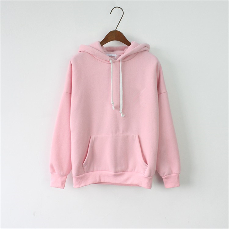 2017 Women Hoodies Sweatshirt Female Long Sleeve Pink Casual Harajuku Pocket Winter Hoodie For Women Pullover