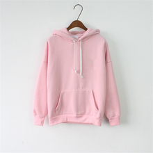 2017 Women Hoodies Sweatshirt Female Long Sleeve Pink Casual Harajuku Pocket Winter Hoodie For Women Pullover Sudaderas Mujer