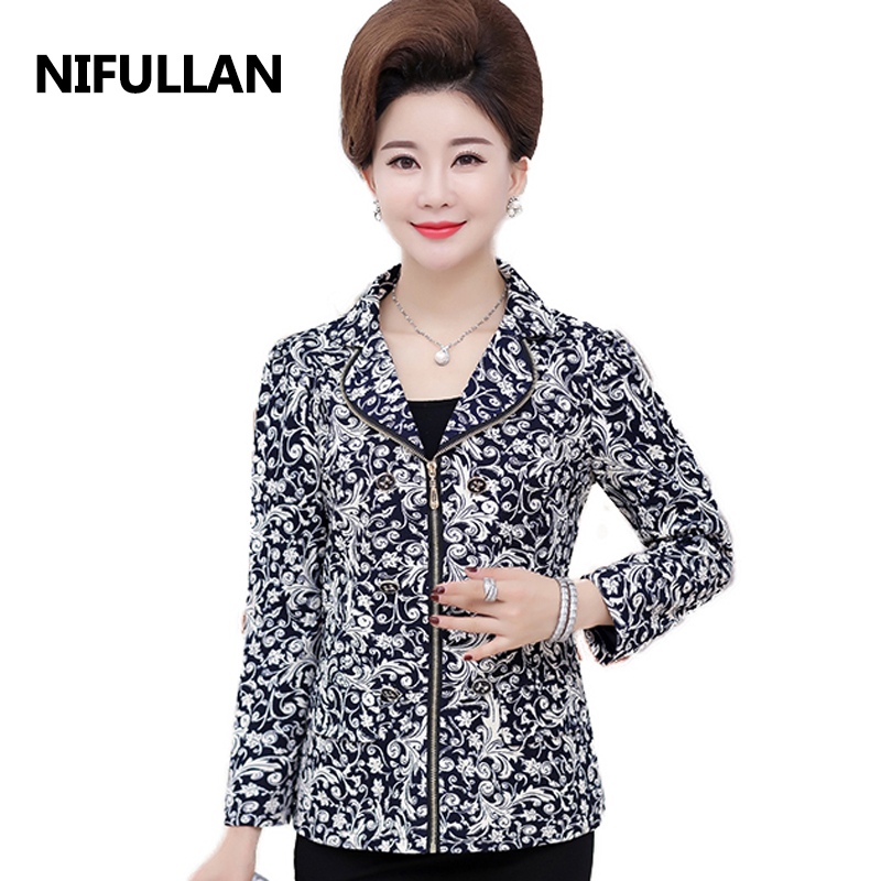 NIFULLAN 2018 Autumn Women Blazer Coat Long Sleeve Zipper Mother's Jacket Office OL High-Grade Fashion Slim Suits Outwear
