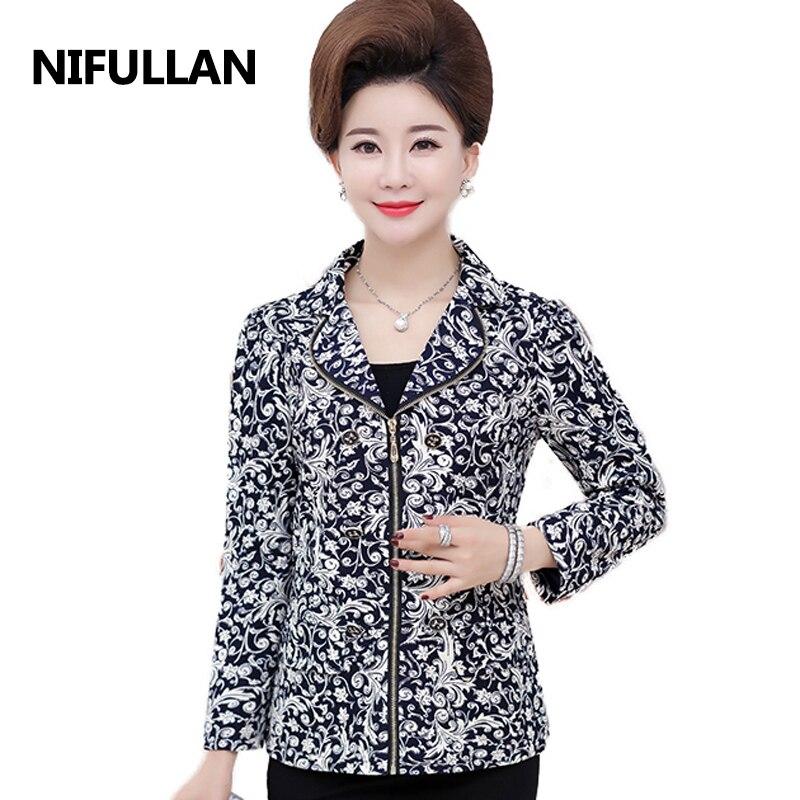 NIFULLAN 2019 Autumn Women Blazer Coat Long Sleeve Zipper Mother's Jacket Office OL High-Grade Fashion Slim Suits Outwear