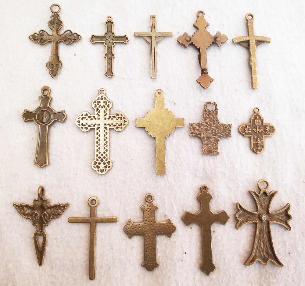 Misture grandes cruzes charme para fazer jóias bronze amor flor jesus cruzes pingentes para pulseiras bonito cruzes charme