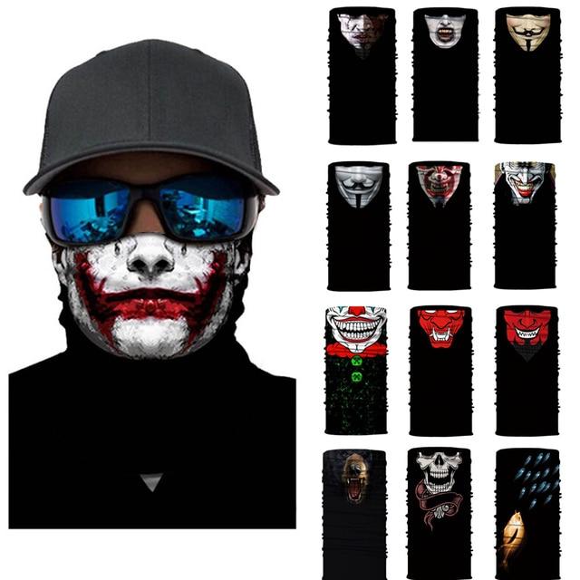 Seamless Skull Skeleton Joker Clown Balaclava Tube Motorcycle Neck Face Mask Scarf Bicycle Hunting Outdoor Ride Bandana Headband