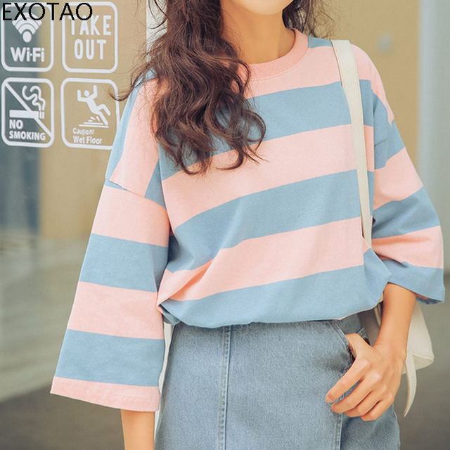 8226591fdb Wide Striped Women T-Shirt Drop Shoulder Cotton Summer Classic Tee Shirt  Femme Loose Contrast
