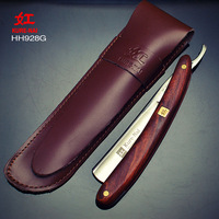 1 X KURE NAI HH928G SHAVE READY Man Straight Shaving Razor Wooden Handle Folding Single Blade