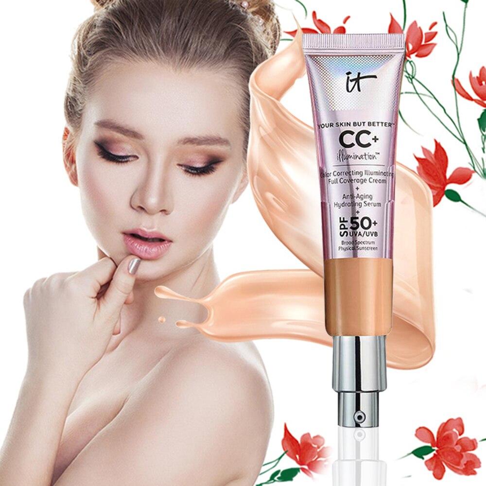 32ml Long Lasting Isolation CC Cream SPF 50+ Makeup Face Base Liquid Foundation Make Up Moisturizing Whitening Cosmetics TSLM2