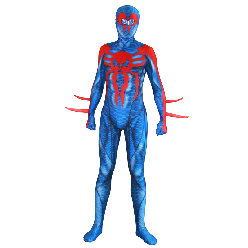 Adult Lycra Blue SpiderMan 2099 MiguelO'Hara 3D Print Jumpsuit Costume Cosplay Mask Lens for Man Halloween Costume Spider Man